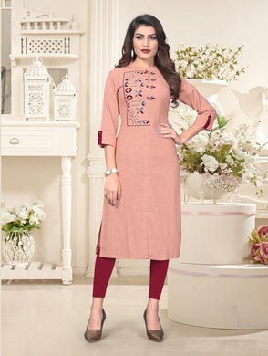 New Latest Embroidered Pink Color Cotton Readymade Kurti