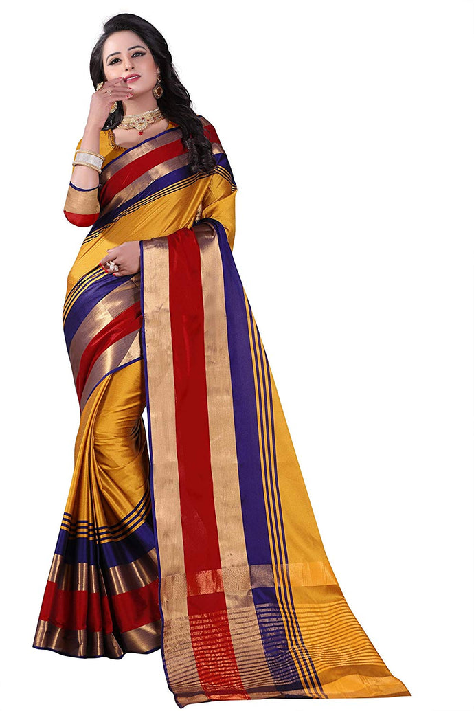 New Silk Yellow Designer Saree With Blouse Piece