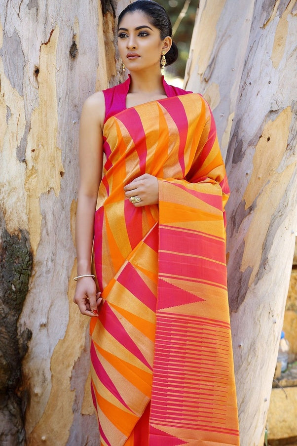 Multi-colour New Trendy Latest Collection Soft And Smooth Golden Zari Digital Print Saree