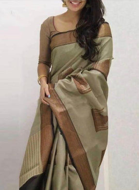 Grey Colour New Trendy Latest Collection Soft And Smooth Golden Zari Digital Print Saree