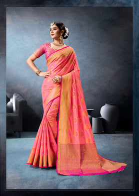 New Indian Wedding Ethic Designer Rich Pallu Banarasi Silk Saree  With Running Blouse