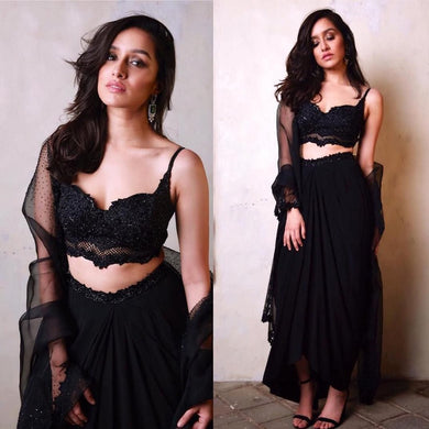 Hot New Black Designer Georgette With Embroidery Work Lehenga Choli