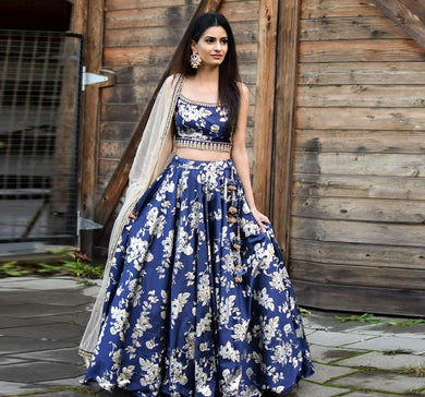 Bollywood Style Blue Colore Designer Taffeta Digital Printed Lahenga With Choli