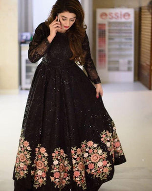 Fency Heavy Black Rasal Net With Embroidery Work Gown