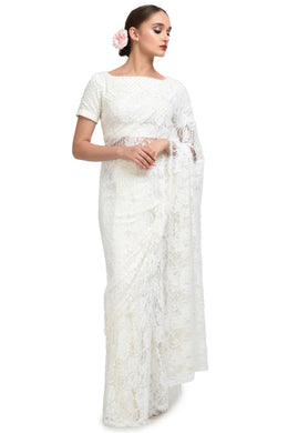 Attractive White Heavy Chantley Net With Heavy Pipping On The Sides Saree