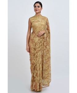 Attractive Gold Heavy Chantley Net With Heavy Pipping On The Sides Saree