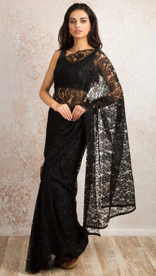 Attractive Black Heavy Chantley Net With Heavy Pipping On The Sides Saree