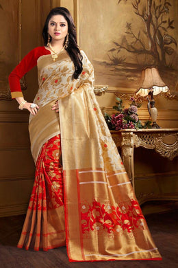 Attractiv Red White Banarasi Silk Weaving With Heavy Rich Zari Pallu With Zari Border Saree