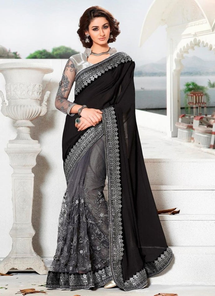 Style Designer Grey Lycra And Net With Embroidered Work Saree