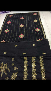 Letest Black Georgette With Sequence Embroidery Work Saree