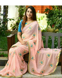 4abcbfce20e Gajri New Trendy Latest Georgette Saree With Sequence Embroidery Work Saree