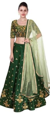 New Beautiful Green Banglory Satin With Embroidery Work Lehenga