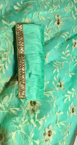 Designer Sea Green Heavy Net Stunning Embroidery And Enhanced By Throughout Fancy Lace Saree