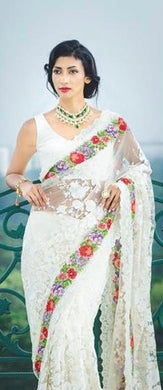 Digangana Suryavanshi Designer White Color Georgette Embroidered Saree