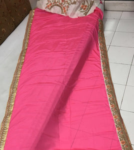 New Collection Pink Colour  Chinnon Silk Gorget  Saree