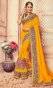 New Collection Yellow Colour  Banarasi Saree