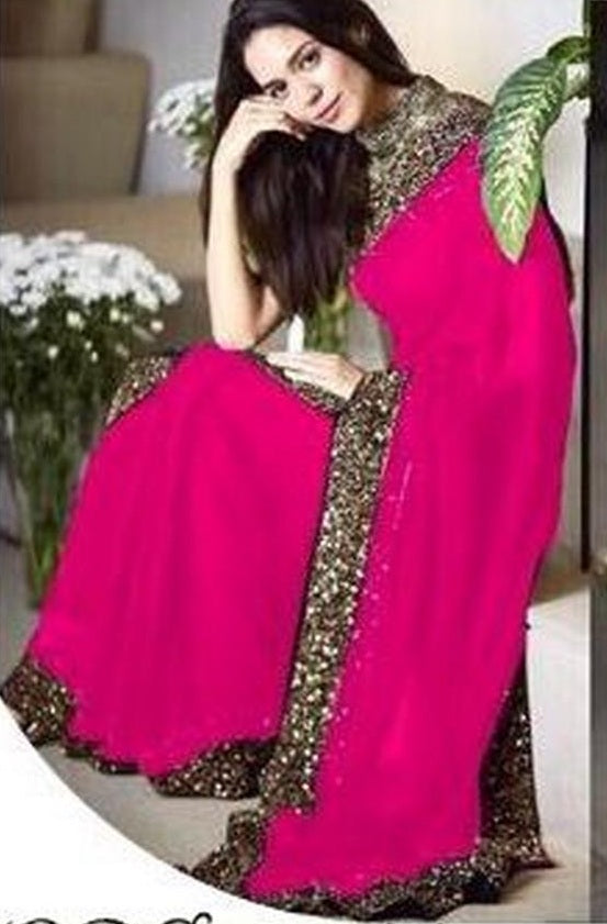New Collection Pink Colour Georgette  Saree