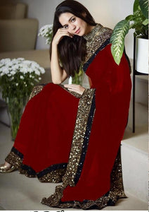 New Collection Red Colour Georgette  Saree