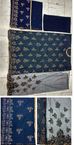 New Collection Blue Colour Net With Havey Embroidery Work With Stone Work Salwar Suit