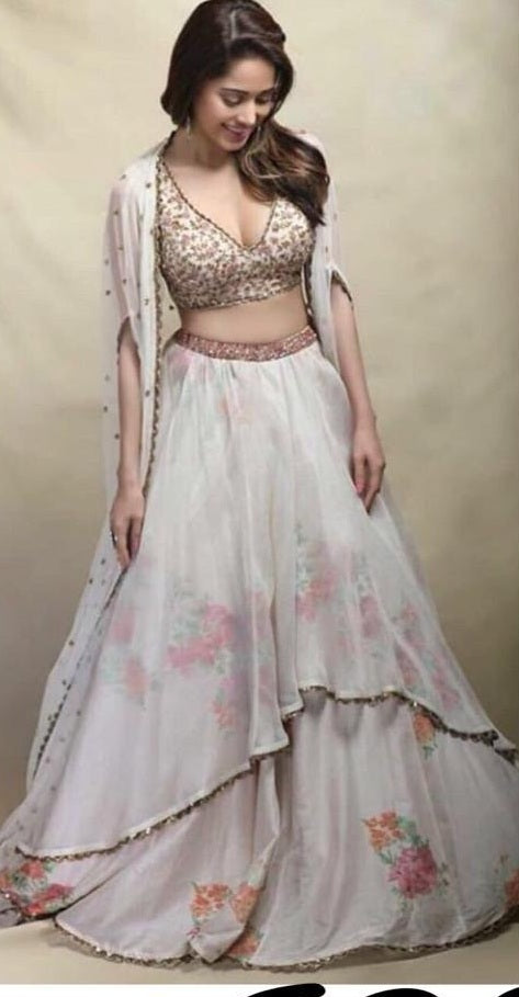 b575888223 Navratri Special White Colour Lehenga Georgette And Bagalorey Satin With  Prited ...
