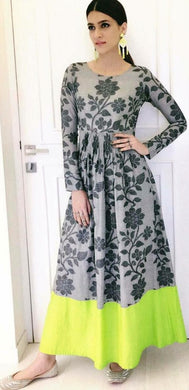 Bollywood Style Grey Colour Pure Heavy Crystal Silk With Digital Print Kurti