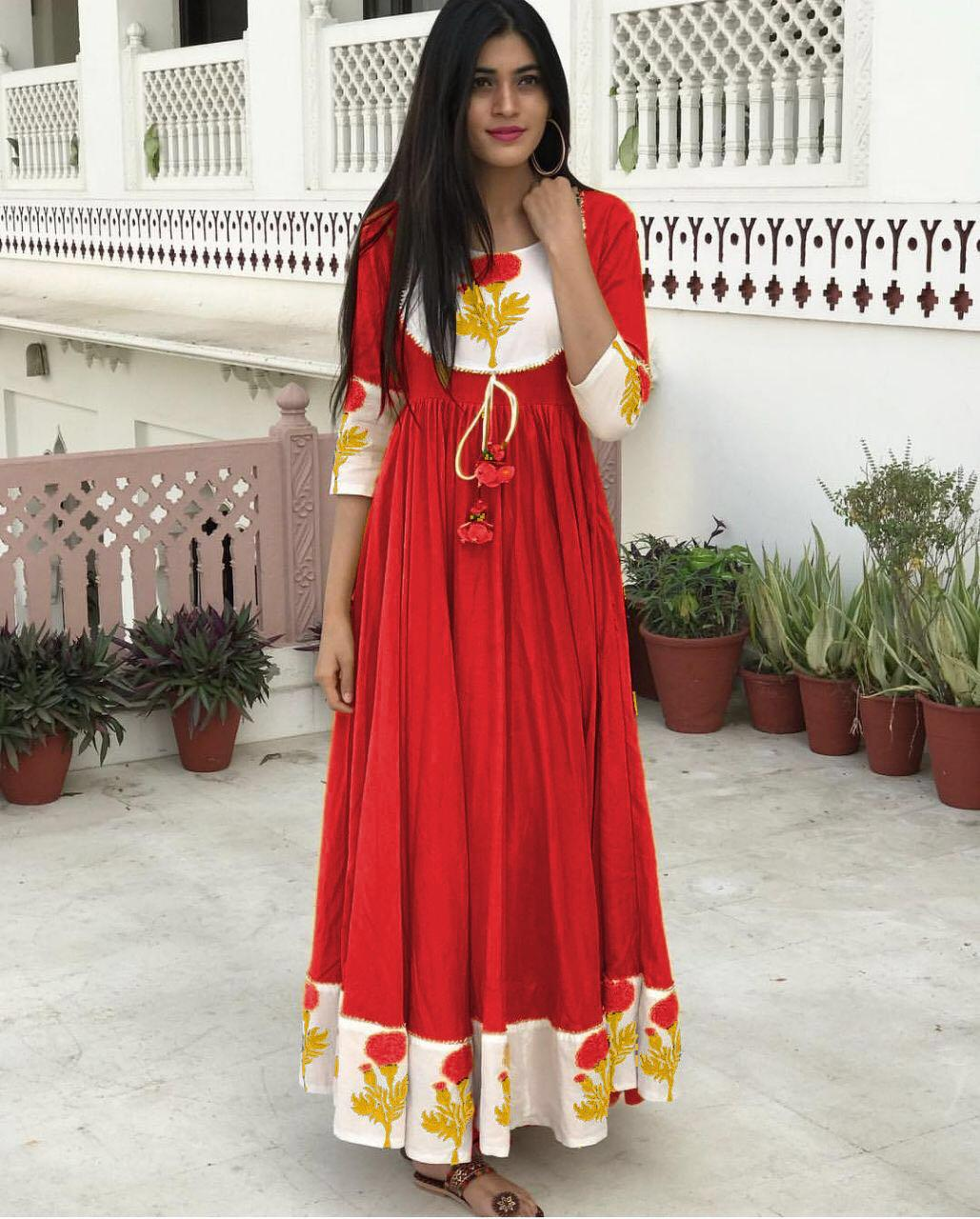 3c0987c2c6 New Collection Red Colour Pure Cotton Kurti – SAREEU™