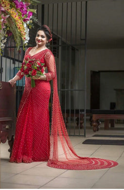 Red Colour Awesome Designer Net Saree
