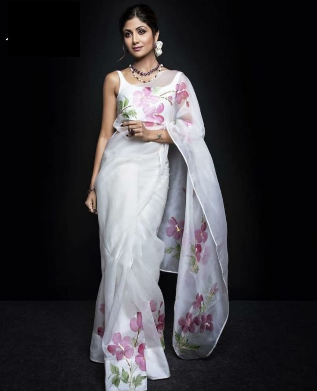 ee115482da Bollywood Style Designer White Colour Japan Satin Saree – SAREEU™