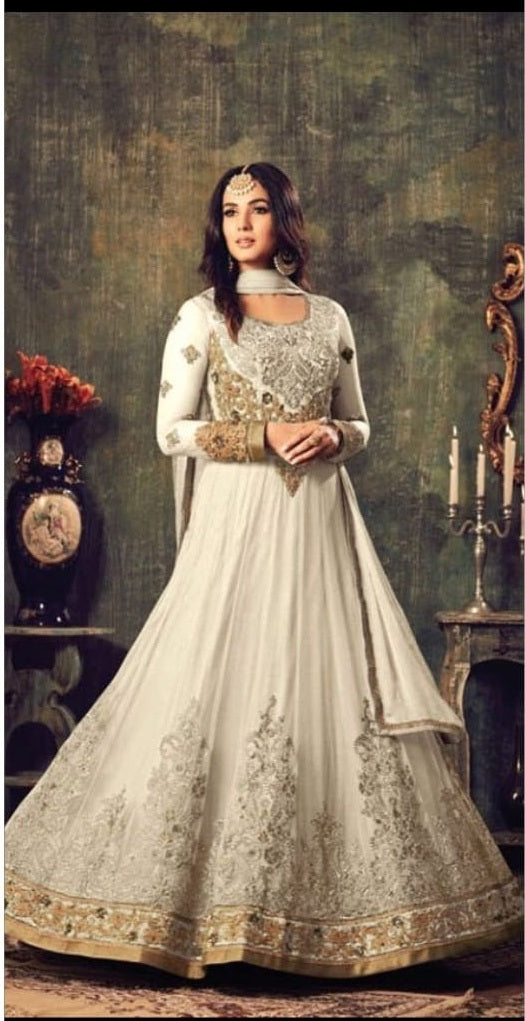 New Collection White Colour Heavy Net With Embroidery Work Salwar Suit