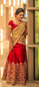 New Collection Red Colour  Banglori Sateen Silk Lehenga