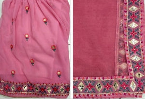 New Collection Pink Colour  Georgette With Embroidery Work  Salwar Suit