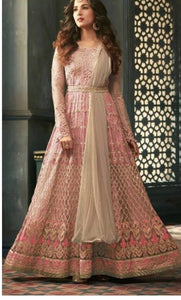 New Collection Pink Colour Heavy Net With Embroidery Work + Stone  Salwar Suit