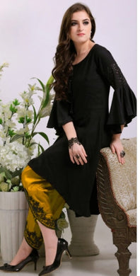 Navratri Special Black Colour Pure Heavy Rayon Tulip Pants With  Beautiful Handwork  Kurti