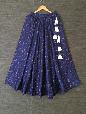 Designer Navy Blue Color Skirt With Hand Made Tassles