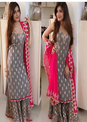Awesome Designer Grey Georgette Palazzo Suit