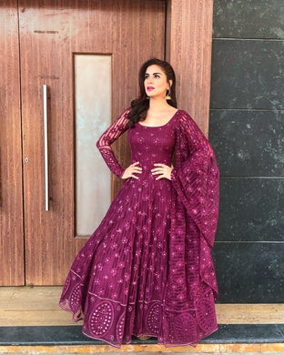 Shraddha Arya Embroidered Net Abaya Style Suit In Purple Color