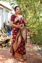 Awesome Designer Woven Silk Saree In Wine Color
