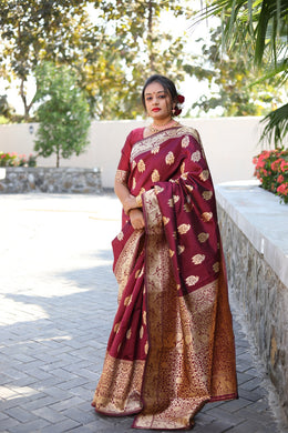 Designer Woven Silk Saree In Wine Color