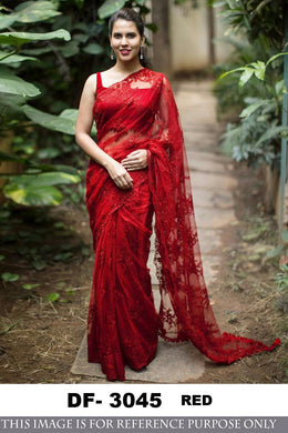 7f7023e047 Red Colour Net Indian Sari Embroidery Designer Wear Indian Blouse Wedding Fancy  Saree