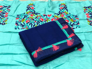 Navy Blue Colour New Designer Heavy Malbari Silk With Embroidered Work With Blouse