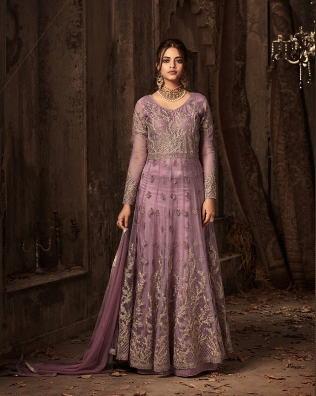 Wine Colour Amazing Designer Net With Multi + Stone Work Salwar Suit