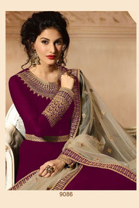 Wine Colour Heavy Georgette With Codding Work Salwar Suit Anarkali Style