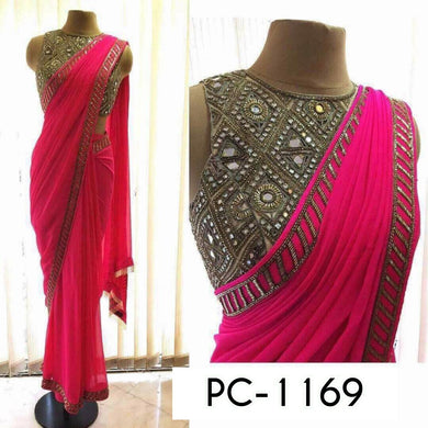 Pink Colour With Georgette With Embroidered Work Indian Ethnic Wear Saree