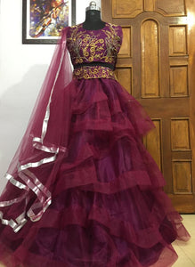Angelic Burgundy Color Designer Freel Embelish Designer Circular Lehenga Choli