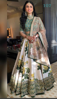Delightful White And Green Banglori Satin Silk Printed Designer Circular Lehenga Choli