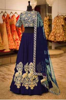 Deserving Blue Velvet Embroidery Work Designer Circular Lehenga Choli