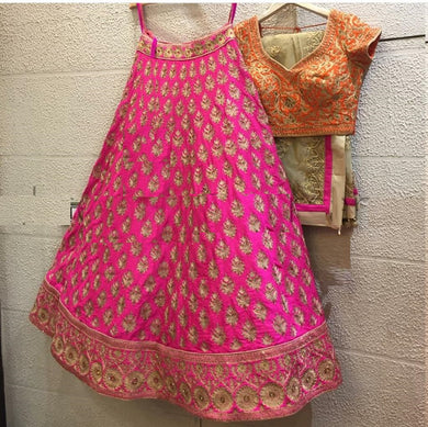 Attractive Pink Satin Silk Embroidery Work Designer Circular Lehenga Choli