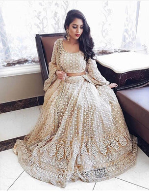 Attractive Cream Georgette Embroidery Work Designer Circular Lehenga Choli