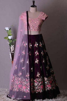 Designer Purple Velvet Embroidery Work Circular Lehenga Choli