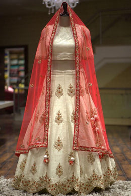 Attractive Off_white Satin Silk Embroidery Work Circular Lehenga Choli